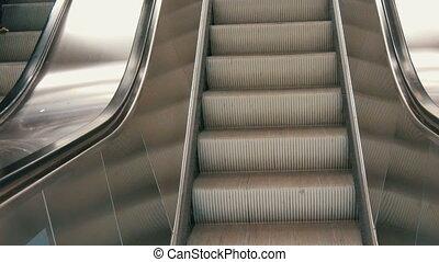 escalator, escalier, moderne, haut, grand, métro, promenades