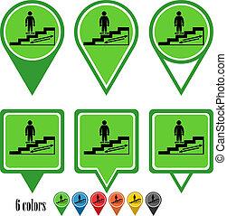 Escalator flat navigation pins