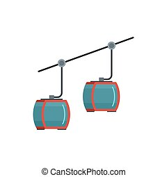 Escalator for skiers icon, flat style