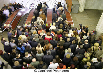 escalator, foule