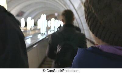 escalator, gens, ukraine, hurry., métro, kiev