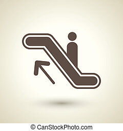 retro style escalator icon isolated on brown background