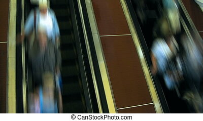 escalator., idő, lapse., emberek