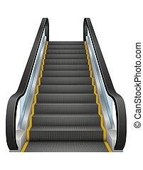 escalator, illustration, vecteur, réaliste, moderne