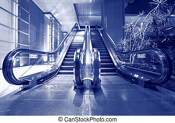escalator in blue tone