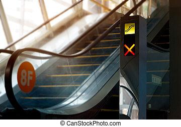 escalator in the department store, defocused