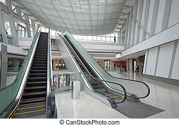 Escalator in the shopping mall