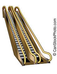 escalator isolated on white background. 10 EPS