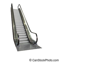 Escalator isolated on white background, clipping path included.