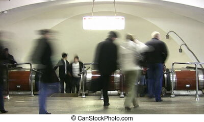 escalator., lapse., foule, gens, métro, temps