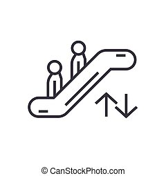 escalator linear icon, sign, symbol, vector on isolated background