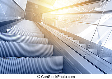 Modern interior with escalator close-up