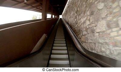 Escalator, moving staircase. 4K. - Escalator, moving...
