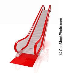 Escalator on a white background