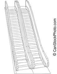 escalator on white