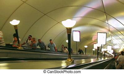 escalator, rue., station, métro, russie, petersburg