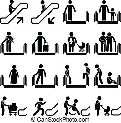 Escalator Sign - A set of pictogram showing a set of artwork...