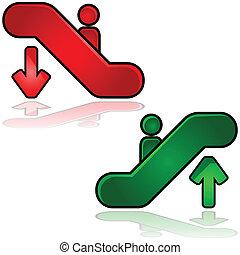 Escalator signs - Glossy illustration of escalators signs:...