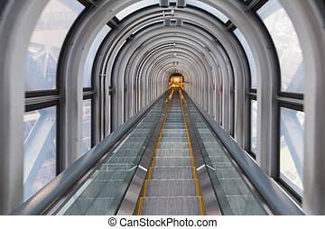 Escalator stairs tunnel city perspective downtown