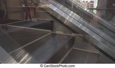 Escalator Steps Moving in Opposite Directions. Video 1080p...