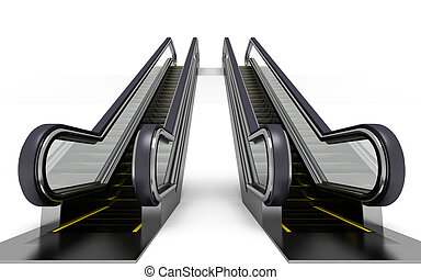 escalator - two escalator on white background. 3d render