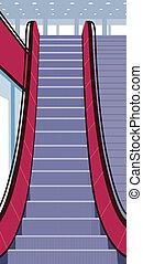 Escalator - This illustration is a common cityscape.