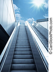 escalator to the sky, urban fantasy landscape,abstract...