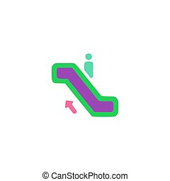 Escalator up Icon Vector