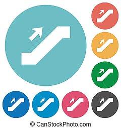 Escalator up sign flat round icons