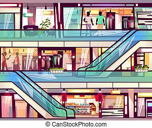 escalator, vecteur, centre commercial, magasin, escalier, illustration