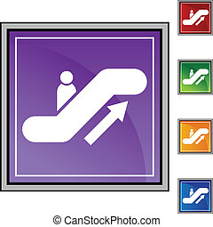 Escalator web button isolated on a background.