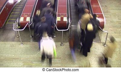escalator., wierzchni, lapse., tłum, ruch, blur., czas, prospekt.