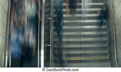 Escalator With People