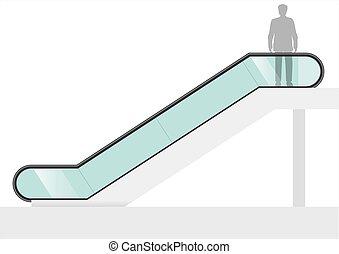 Escalator with transparent glass - Double escalator shopping...