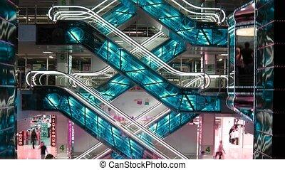 escalators and elevators, time lapse, changing colors