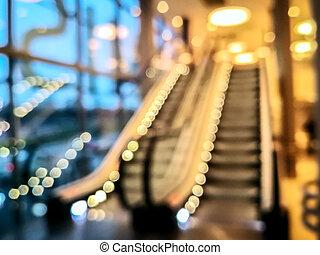 Escalators at the modern shopping