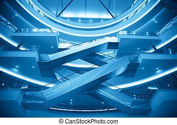 Escalators in modern office