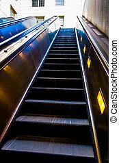 Escalators in the Smithsonian Metro Station, Washington, DC.