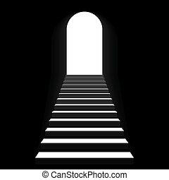 escalera, a, arco, puerta