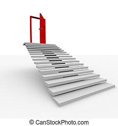 escalera, a, el, cima