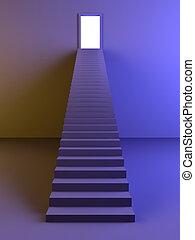 escalera, a, el, luz