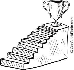 escalera, a, victoria, bosquejo