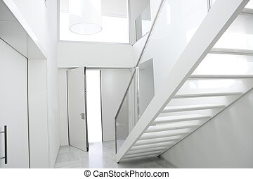 escalera, arquitectura, interior, hogar, blanco, vestíbulo