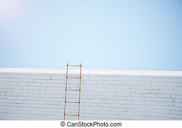 escalera, blanco, pared ladrillo, en, cielo azul, plano de fondo
