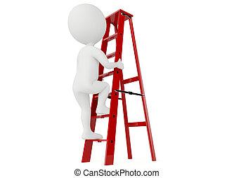 escalera, carácter, arriba, humanoide, rojo, 3d