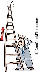 escalera, caricatura, éxito