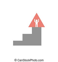escalera carrera, emblem., pasos, montañismo, logo., signo.