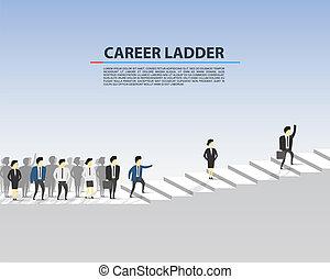 escalera carrera, personas., empresa / negocio