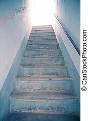 escalera, cielo, metáfora, luz