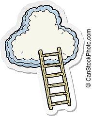 escalera, cielo, pegatina, caricatura